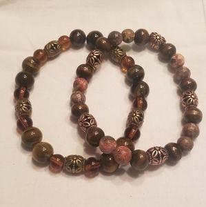 🎉HP!! ⚜ Men's brown stretch bracelet set